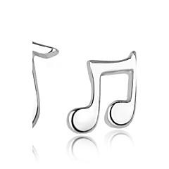 Mulheres Brincos Curtos Moda Incompatibilidade bijuterias Prata de Lei Nota Musical Jóias Para Casamento Festa Diário