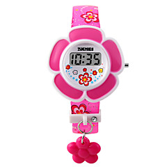 Kinder Armband-Uhr Modeuhr digital LED PU Band Charme Rosa Lila