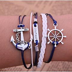 billiga -Herr Dam Läder Ankare Kedje & Länk Armband Läder Armband Tappning Armband Armband av Remmar - Multi lager Inspirerande Ankare Blå Armband