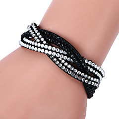 Lureme®Fashion Woven Leather Women's  Crystal Bracelets Jewelry Christmas Gifts
