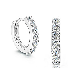 Brincos Curtos Imitação de Diamante Moda Prata de Lei Cristal imitação de diamante Prata Jóias Para Casamento Festa Diário 2pçs