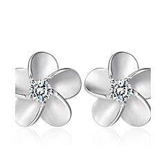 Feminino Brincos Curtos Zircônia cúbica Moda bijuterias Prata de Lei Cristal Zircão Zircônia Cubica Jóias Para Casamento Festa Diário