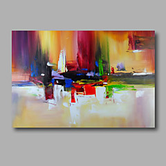cheap Oil Paintings-Oil Painting Hand Painted - Abstract Modern Stretched Canvas / Rolled Canvas