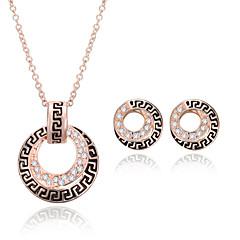 preiswerte Schmuckset-Damen Strass Roségold Schmuck-Set 1 Paar Ohrringe Halsketten - Gold Für Hochzeit Party