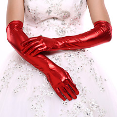cheap Party Gloves-Faux Leather Opera Length Glove Bridal Gloves Party/ Evening Gloves With Rhinestone