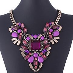 abordables -Femme Cristal Pendentif de collier / Colliers Déclaration - Plaqué or Noir, Violet Colliers Tendance Pour Soirée