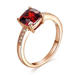 Ringer Krystall Imitert Rubin Imitasjon Diamant Fødselsstein Smykker uttalelse Ringe
