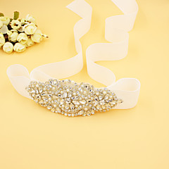 cheap Party Sashes-Bead Satin Wedding Party / Evening Sash With Rhinestone Imitation Pearl Women's Sashes