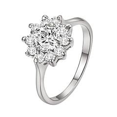 billige Motering-Dame Krystall Ring - Fuskediamant Blomst, Solsikke Klassisk, Fødselsstein Sølv / Gylden Til Daglig