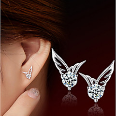 S925 Fine Silver AAA Zircon Wings Stud Earrings (1.1*0.8cm) Elegant Style