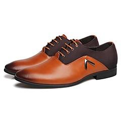 お買い得  メンズ ファッショナブルシューズ-男性用 靴 レザー 春 秋 コンフォートシューズ オックスフォードシューズ 編み上げ のために 結婚式 オフィス&キャリア パーティー ブラック オレンジ Brown
