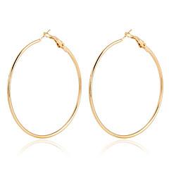 baratos -Mulheres Brincos em Argola Cristal Moda Europeu Bijuterias Destaque bijuterias Chapeado Dourado 18K ouro Formato Circular Jóias Para