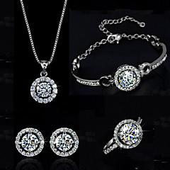 baratos Conjuntos de Bijuteria-Mulheres Cristal Conjunto de jóias - Cristal Incluir Prata / Dourado Para Casamento Festa Aniversário / Anéis / Brincos / Colares / Bracelete