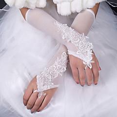 До локтя С открытыми пальцами Перчатка Шёлк Эластичный сатин Свадебные перчатки Весна Лето Осень Зима Бант