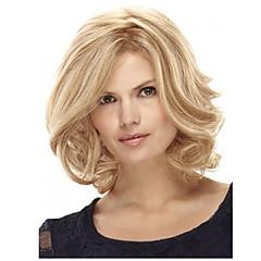 tanie Peruki syntetyczne-Włosy syntetyczne Peruki Kręcone Część Boczna Fryzura Bob Z grzywką Bez czepka Peruka naturalna Medium Blond