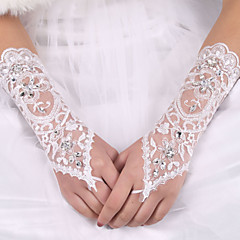 cheap Party Gloves-Silk Elastic Satin Elbow Length Glove Bridal Gloves With Bowknot