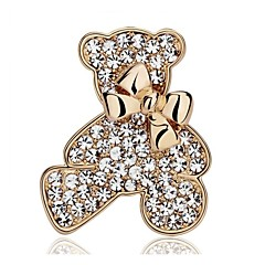 Gold-plated Silver-plated / Rhinestone Brooch / Bear Brooch/ Wedding / Party 1pc
