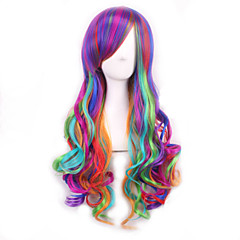 cheap Wigs & Hair Pieces-Synthetic Wig Women's Wavy Purple With Bangs Synthetic Hair With Bangs Purple Wig Long Capless Rainbow