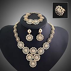 baratos Conjuntos de Bijuteria-Camadas Conjunto de jóias - Flor Vintage, Festa, Corrente Incluir Dourado Para / Brincos / Colares