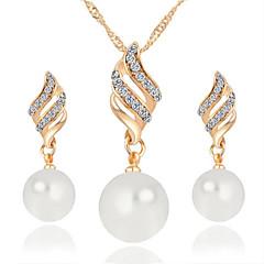 baratos Conjuntos de Bijuteria-Mulheres Diamante sintético Conjunto de jóias - Pérola Incluir Colar / Brincos Prata / Dourado Para Casamento Festa Diário