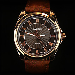 YAZOLE Herrn Armbanduhr Quartz Armbanduhren für den Alltag Leder Band Charme Schwarz Braun