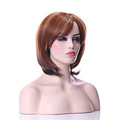 billiga Peruker och hårförlängning-Syntetiska peruker Rak Syntetiskt hår Peruk Dam Utan lock Brun