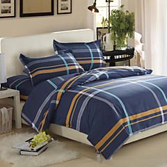 billiga Påslakan-Ljusblå Rutig Cotton Reaktiv Tryck 1 st.Bedding Sets / >800