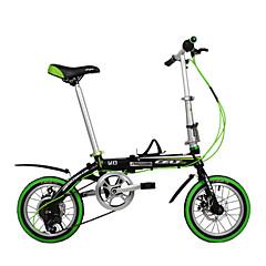 dequilon 14 אינץ 'שישה בלמי דיסק אופניים מתקפלים הילוך בשוק ירוק אופניים
