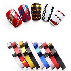 billige Negleklistremerker-1 Neglekunst klistremerke Guide Franske Spisser Glimmer & Pudder Folie  Stripe Tape Abstrakt Punk Bryllup Sminke KosmetikkNeglekunst