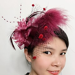 baratos -Feather net fascinators headpiece elegante estilo feminino clássico