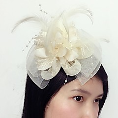 cheap Party Headpieces-Tulle Feather Net Fascinators 1 Wedding Special Occasion Headpiece