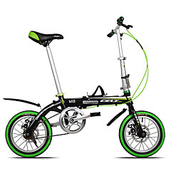 מתקפל אופניים רכיבת אופניים 6 מהירויות 14 אינץ' מבוגר יוניסקס דיסק בלימה כפול שלדת סגסוגת אלומיניום קיפול סגסוגת אלומיניום לבן