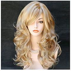 Χαμηλού Κόστους Προσφορά Χαλοουίν-Συνθετικές Περούκες Σγουρά / Κυματιστό Ξανθό Με αφέλειες Συνθετικά μαλλιά Πλευρικό μέρος Ξανθό Περούκα Γυναικεία Μακρύ Χωρίς κάλυμμα Ξανθό