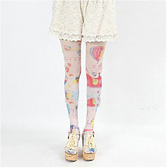 Socks/Stockings Sweet Lolita Lolita Lolita Pink Blue Lolita Accessories Stockings Print For Silk