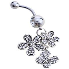 billige Kropssmykker-Sølv / Fuskediamant Navel Ring / Belly Piercing - Dame Hvit Luksus Kroppsmykker Til Fest / Daglig / Avslappet