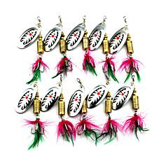 """10pcs adet Przynęty wędkarskie Kırçıllı ve Renkli Zokalar Kaşıklar Herhangi Bir Renk g/Ons,75mm mm/3"""" inç,Tüy MetalDeniz Balıkçılığı"""