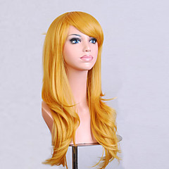 cheap Wigs & Hair Pieces-Synthetic Wig Women's Curly / Natural Wave Golden Asymmetrical Synthetic Hair Natural Hairline Golden Wig Medium Length / Long Capless Yellow