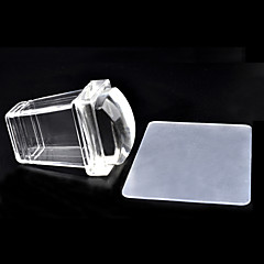 New Square Pure Clear Jelly Silicone Nail Art Stamper Scraper Set Transparent Polish Design Print Stamping Tools