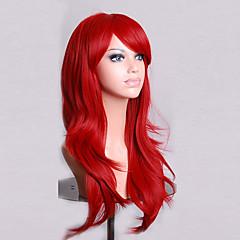 billiga Peruker och hårförlängning-Syntetiska peruker Lockigt / Naturligt vågigt Asymmetrisk frisyr Syntetiskt hår Naturlig hårlinje Röd Peruk Dam Lång Kostym Peruk /