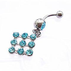 tanie Piercing-Damskie Biżuteria Pierścień pępka / piercing brzucha Srebro standardowe Imitacja diamentu White Niebieski Różowy Kwadrat Geometric Shape