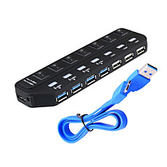 USB 3.0 7 Ports/Interface USB Hub with Separate Switch 15.8*4.5*1.9