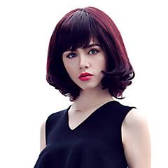 billiga Peruker och hårförlängning-Human Hair Capless Parykar Äkta hår Vågigt Bob-frisyr / Frisyr i lager / Med lugg Korta Utan lock Peruk Dam