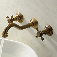 Bathroom Sink Faucet - Widespread Antique Brass Wall Mounted Three Holes Two Handles Three Holes