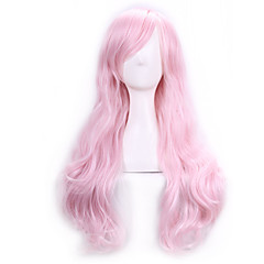 cheap Wigs & Hair Pieces-70 cm harajuku anime cosplay wigs for party costume women ladies long full wavy curly synthetic hair pink wig Halloween