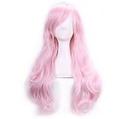 billiga Peruker och hårförlängning-Syntetiska peruker / Kostymperuker Lockigt Med lugg Syntetiskt hår Sidodel Rosa Peruk Dam Lång Utan lock