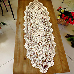 cheap -40*140cm Oval Handmade Hook Needle Crochet Cotton  Rustic Vintage Cutout Knitted Wedding Table Runner