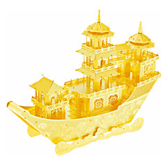 cheap -3D Puzzles Jigsaw Puzzle Metal Puzzles Model Building Kits Ship 3D Chinese Ancient Ship DIY Stainless Steel Metal Alloy Metal Christmas