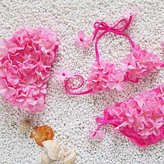 billige Badetøj til piger-Pige Undertøj Blomstret, Akryl Alle årstider Blomster Elastisk Lilla Rød Grøn Blå Lys pink