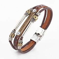 voordelige -Heren kralen Wikkelarmbanden / Lederen armbanden - Leder Vintage, Punk, Inspirerend Armbanden Koffie Voor Kerstcadeaus / Dagelijks / Causaal