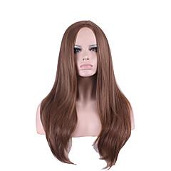 billiga Peruker och hårförlängning-Syntetiska peruker Rak / Kinky Rakt Asymmetrisk frisyr Syntetiskt hår Naturlig hårlinje Brun Peruk Dam Lång Cosplay Peruk / Kostym Peruk